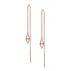 Threader Earrings - Double Pyramids -Rose Gold