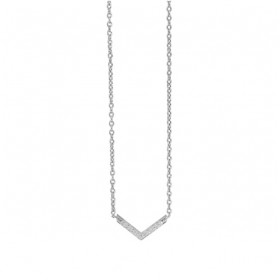 The V Necklace - Silver CZ Paved