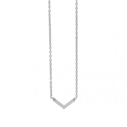 The V Necklace - Silver CZ Paved