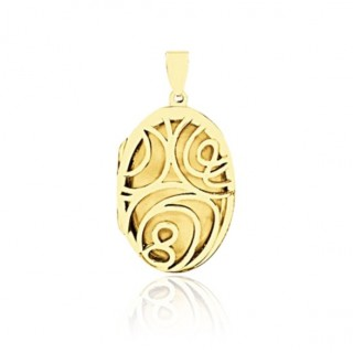 Floral Locket - Oval - Gold Plated