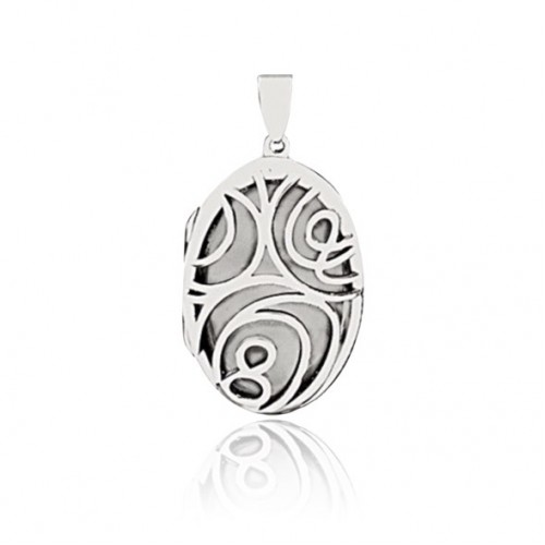 Floral Locket - Round - White