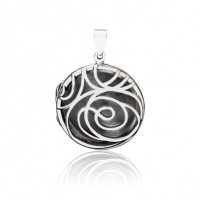 Floral Locket - Round -Oxidised