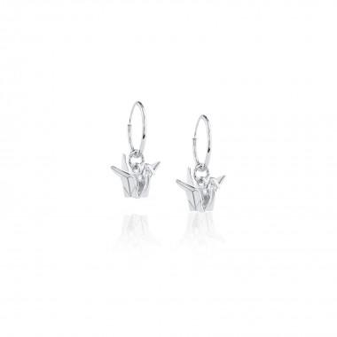Origami Crane /Hoop Earrings