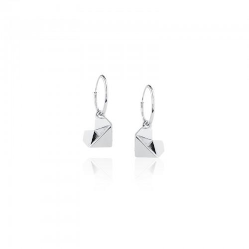 Origami Heart /Hoop Earrings