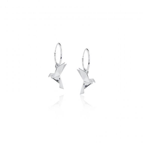 Origami Pigeon /Hoop Earrings