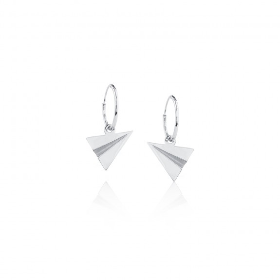 Origami Plane /Hoop Earrings