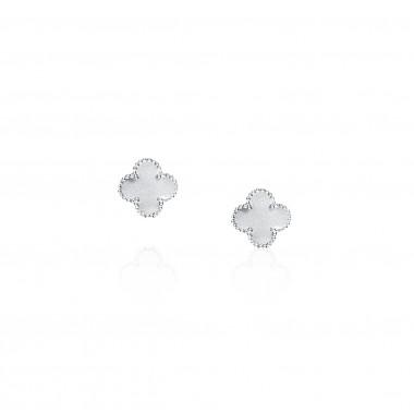 Clover Leaf-Earrings Stud / Satin Finish