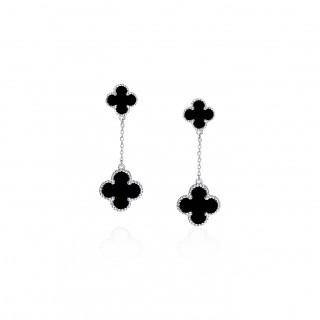 Clover Leaf-Dangle Earrings Stud / Enamel
