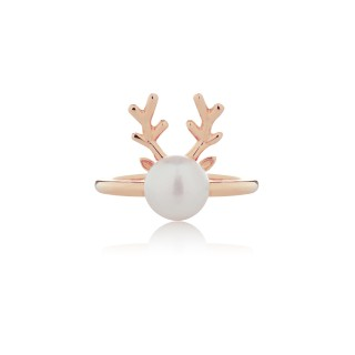 Pearly Reindeer / Ring (Gold & Rose Gold Plating)