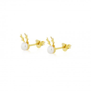 Pearly Reindeer / Earrings Stud (Gold & Rose Gold Plating)